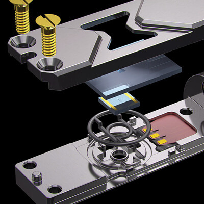 exploded view of liquid cell holder