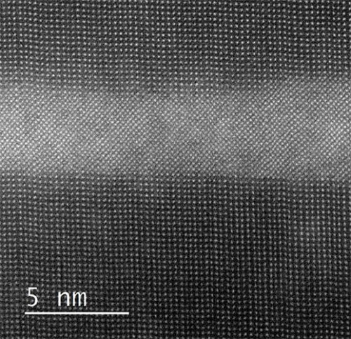 FIB prepared quantum well structure for lasers imaged at 450ºC. Image courtesy Philipps University Marburg