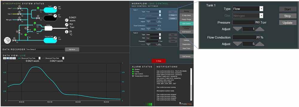 Clarity screenshot of software running in situ gas tem experiment
