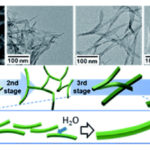 sequential micrographs and illustrations of evolution of a V2O5·nH2O gel skeleton
