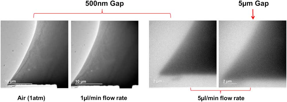 bright field micrograph resolution changing with LC flow rate